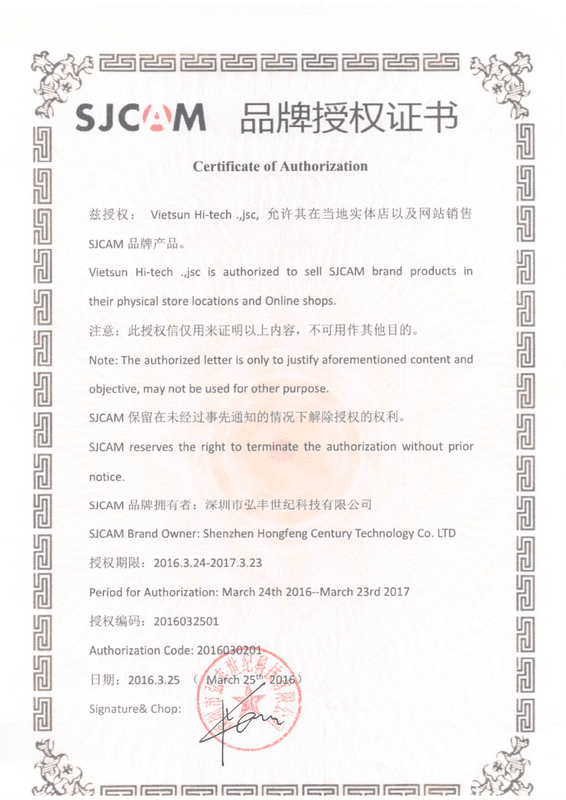 giấy chứng nhận bán camera sjcam sj4000 giá rẻ