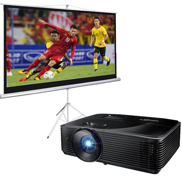 combo máy chiếu Optoma PX346 và màn chiếu di động 100 inch