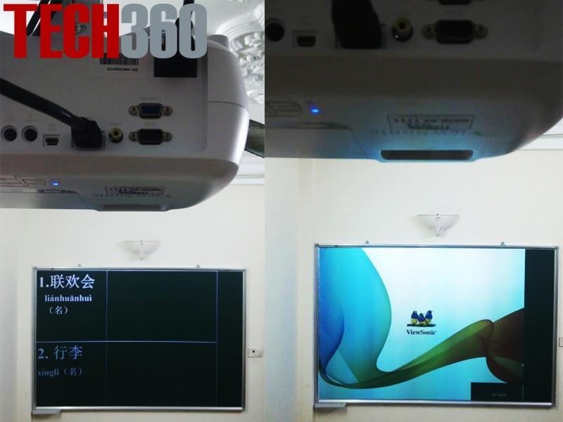 máy chiếu lên bảng xanh